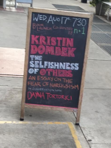 drinking from the controversial well of narcissism kristin  for the launch of her debut book the selfishness of others an essay on the fear of narcissism kristin dombek arrives to the proverbial stage nine minutes